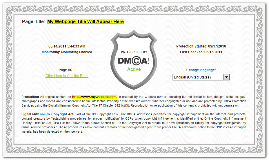 what is the dmca protection certificate