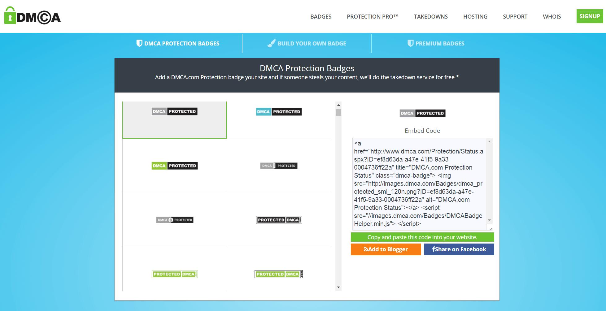 DMCA com Website Protection Badges