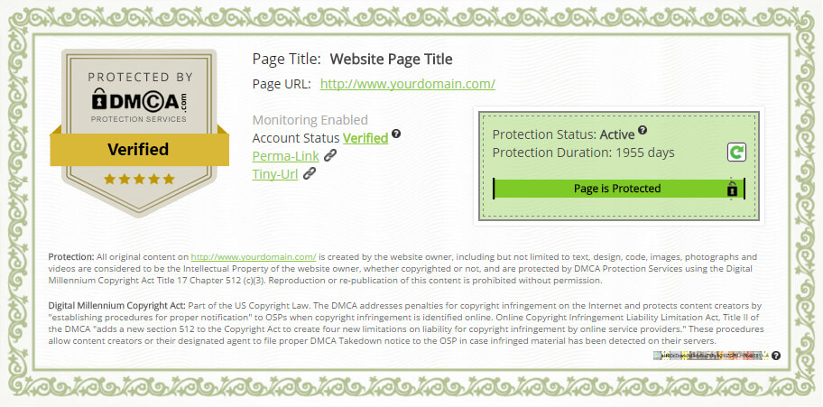 DMCA Protection Certificate